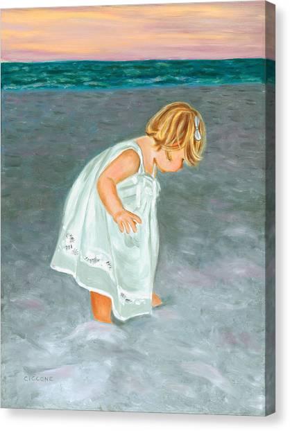 Beach Baby In White Canvas Print