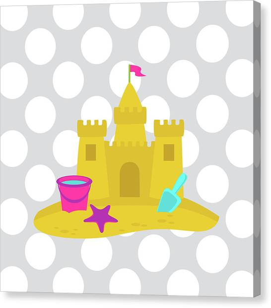 Sand Castles Canvas Print - Beach Bathroom IIi by Tamara Robinson