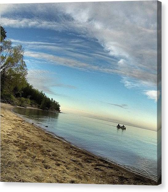 Kayaks Canvas Print - #beach #beachlife #summer #lake #water by Mark Lindal