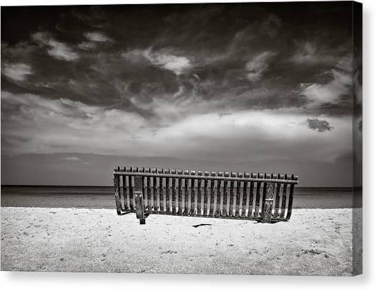 Jamaican Canvas Print - Beach Bench by Dave Bowman