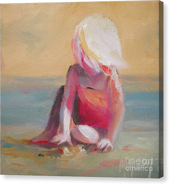 Children On Beach Canvas Print - Beach Blonde Girl In The Sand by Mary Hubley