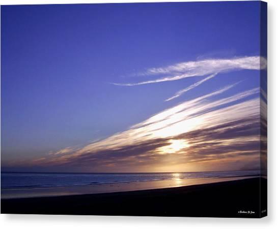 Beach Blue Sunset Canvas Print