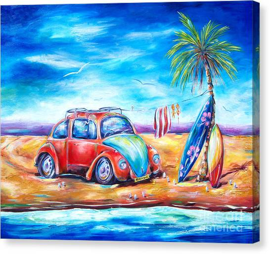 Surfboard Canvas Print - Beach Bug by Deb Broughton