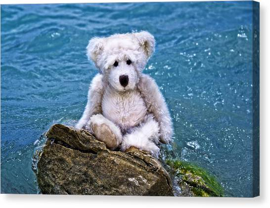 Teddybear Canvas Print - Beach Bum - Teddy Bear Art By William Patrick And Sharon Cummings by Sharon Cummings