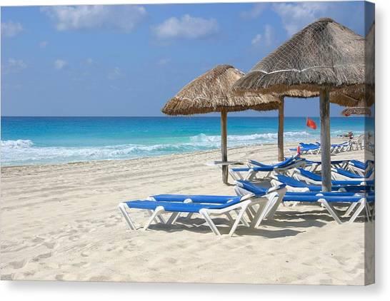 Beach Chairs In Cancun Canvas Print