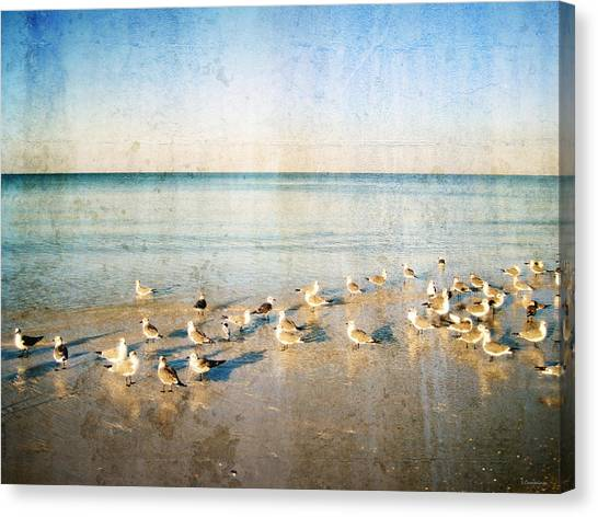 Subtle Canvas Print - Beach Combers - Seagull Art By Sharon Cummings by Sharon Cummings
