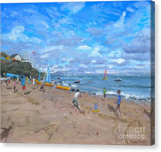 Crickets Canvas Print - Beach Cricket by Andrew Macara