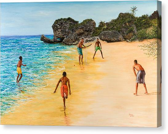 Bowling Canvas Print - Beach Cricket by Victor Collector