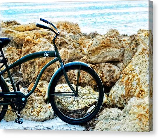 Bicyclists Canvas Print - Beach Cruiser - Bicycle Art By Sharon Cummings by Sharon Cummings