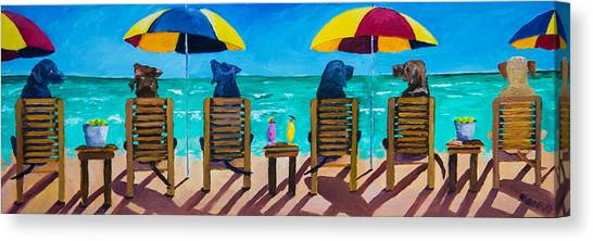 Yellow Labrador Canvas Print - Beach Dogs by Roger Wedegis