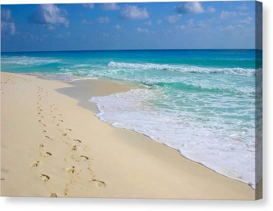 Beach Footprints Canvas Print