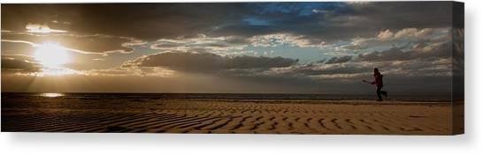 Beach Girl At Sunset Canvas Print