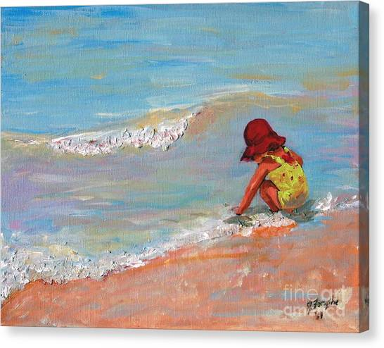 Beach Girl In Red Hat Canvas Print