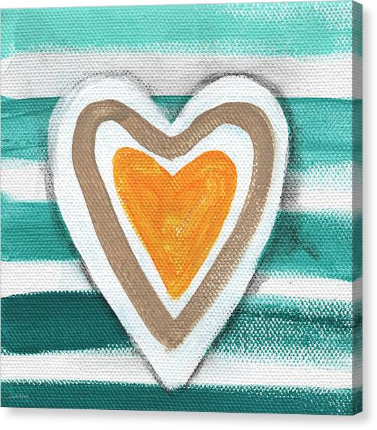 White Sand Canvas Print - Beach Glass Hearts by Linda Woods