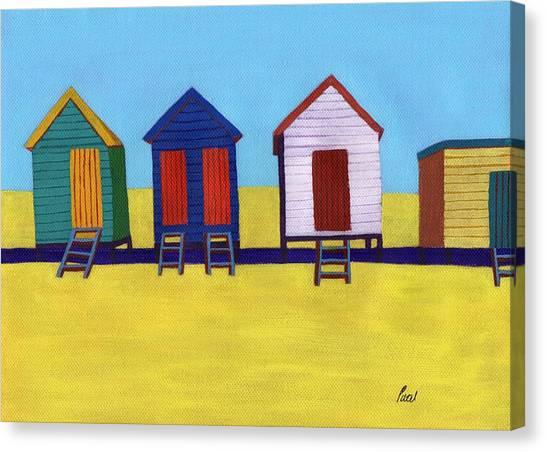 Beach Huts Canvas Print by Bav Patel