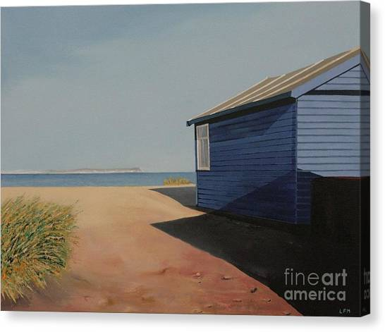 Beach Huts In The Sun Canvas Print by Linda Monk