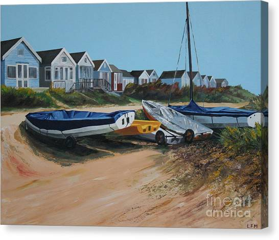 Beach Huts Canvas Print by Linda Monk