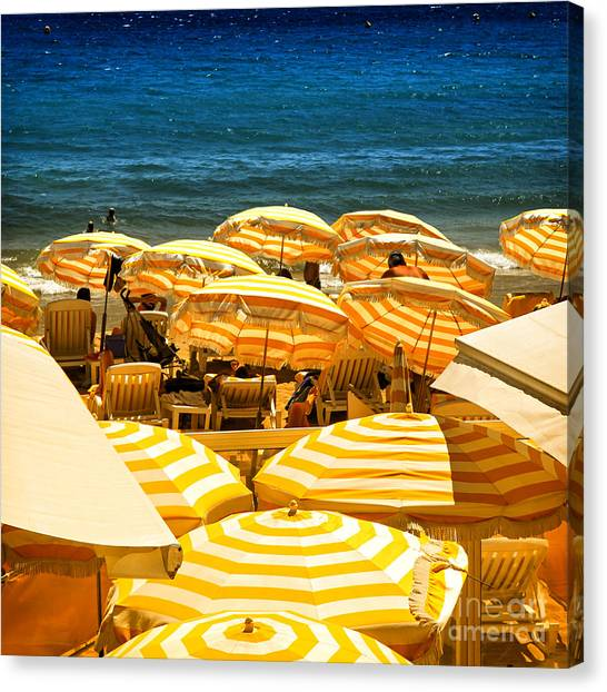 Summer Holiday Canvas Print - Beach In Cannes  by Elena Elisseeva