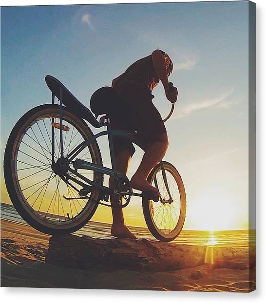 Swimming Canvas Print - Beach Log Riding by Tilion Lieberman