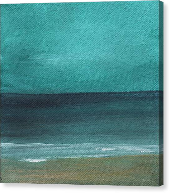 White Sand Canvas Print - Beach Morning- Abstract Landscape by Linda Woods