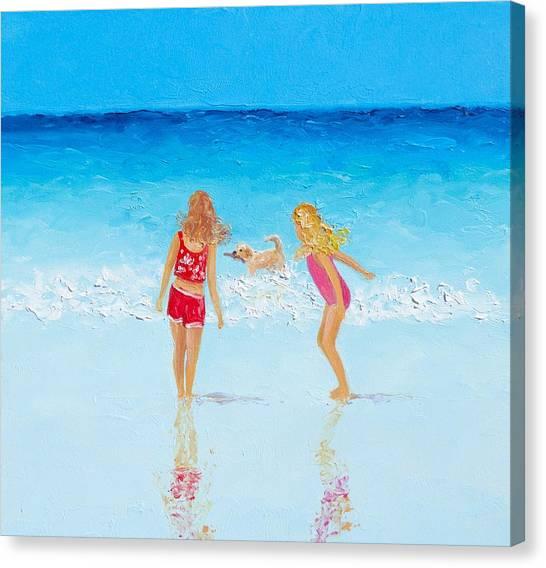 Beach Painting Beach Play Canvas Print