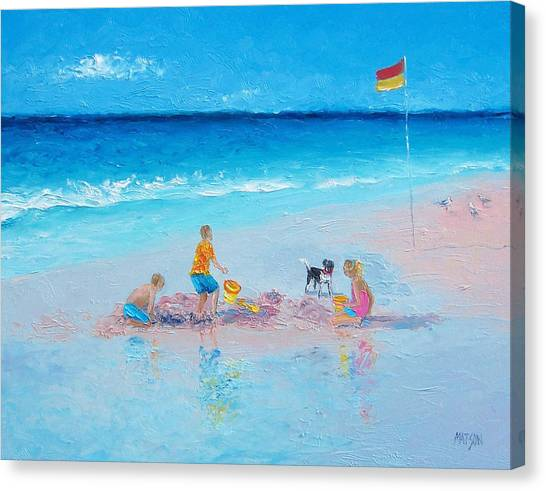 Children Playing On Beach Canvas Print - Beach Painting Building Sandcastles By Jan Matson by Jan Matson