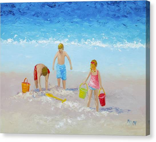 People On Beach Canvas Print - Beach Painting - Sandcastles by Jan Matson