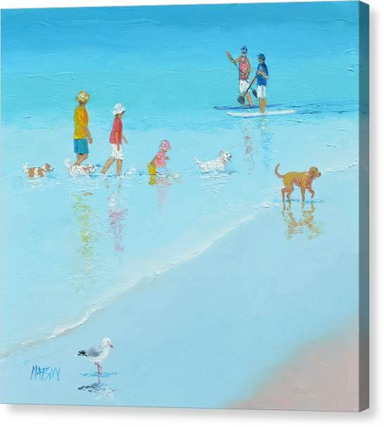 Coastal Decor Canvas Print - Beach Painting 'the Dog Beach' By Jan Matson by Jan Matson