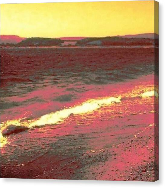Floss Canvas Print - #beach #pink #sea #holiday #yellow by Candy Floss Happy