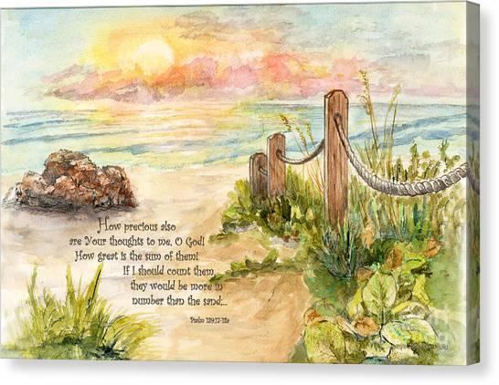 Beach Post Sunrise Psalm 139 Canvas Print