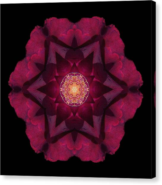 Beach Rose I Flower Mandala Canvas Print