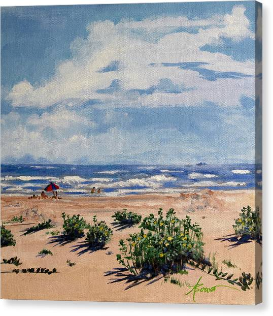 Beach Scene On Galveston Island Canvas Print