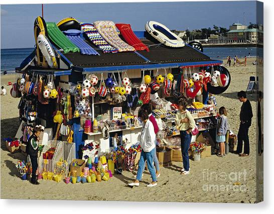 Beach Scene Weymouth Uk 80s Canvas Print by David Davies