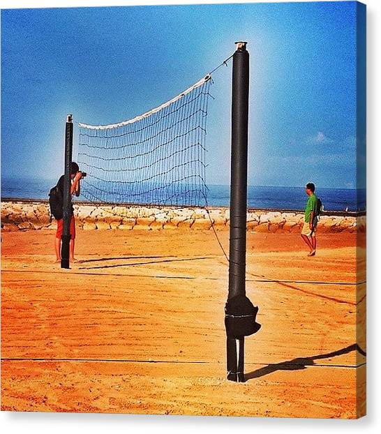 Volleyball Canvas Print - #beach #sea #sand #volleyball #net #sun by Mia Wigny