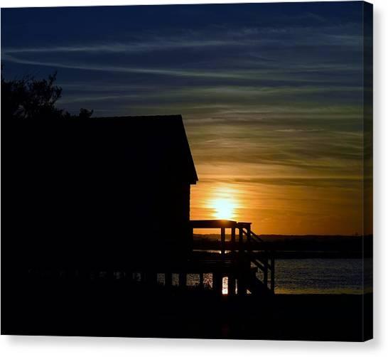 Beach Shack Silhouette Canvas Print