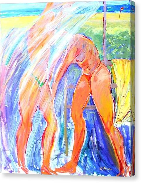 Canvas Print featuring the painting Beach Shower #1 by Virginia Mcgowan