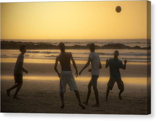 Beach Soccer At Sunset Canvas Print