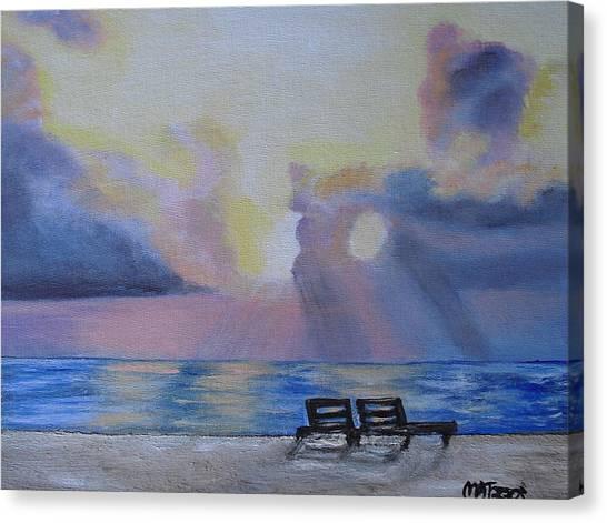 Beach Sunset Canvas Print by Melissa Torres