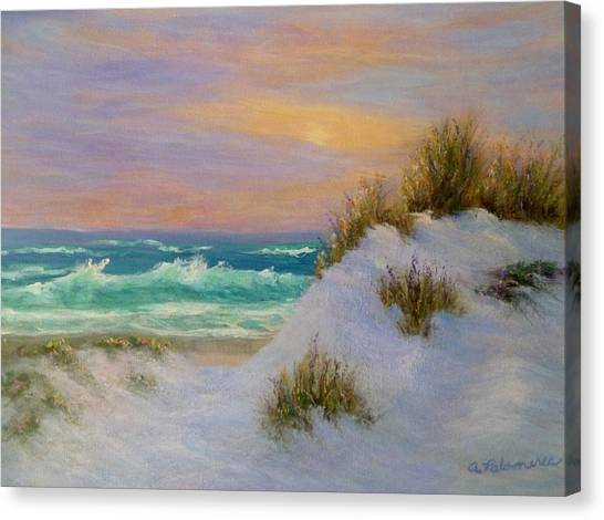 Beach Sunset Paintings Canvas Print