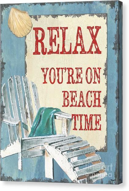 Adirondack Chair Canvas Print - Beach Time 1 by Debbie DeWitt