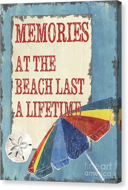 Beach Umbrellas Canvas Print - Beach Time 3 by Debbie DeWitt
