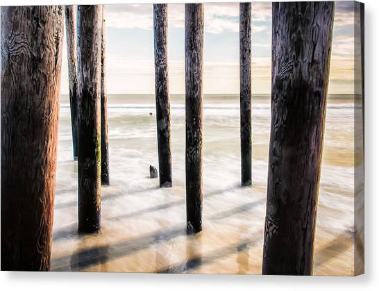 Canvas Print featuring the photograph Beach Totems by Steve Stanger