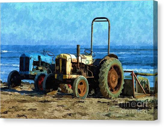 Beach Tractors Photo Art Canvas Print