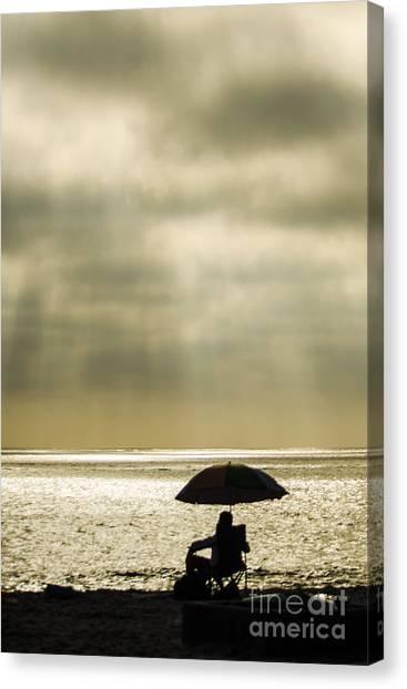 Beach Umbrella Canvas Print by Deborah Smolinske