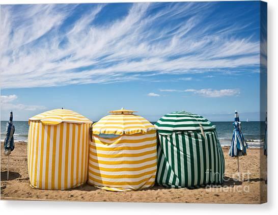 Beach Cabin Canvas Print - Beach Umbrellas by Delphimages Photo Creations