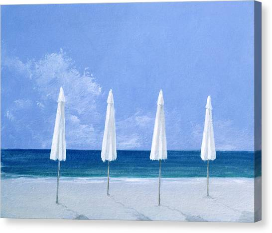 Summer Holiday Canvas Print - Beach Umbrellas by Lincoln Seligman