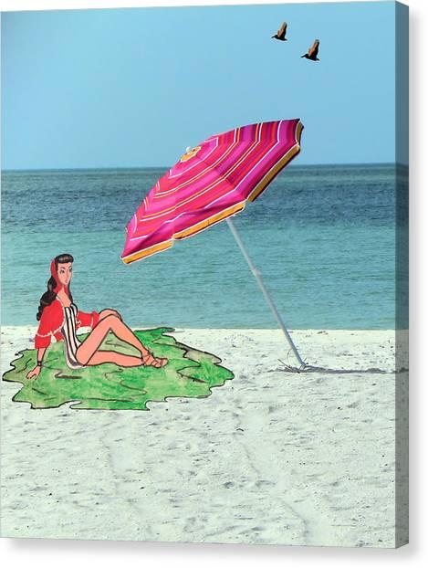 Beach Vacation Canvas Print by Rosalie Scanlon