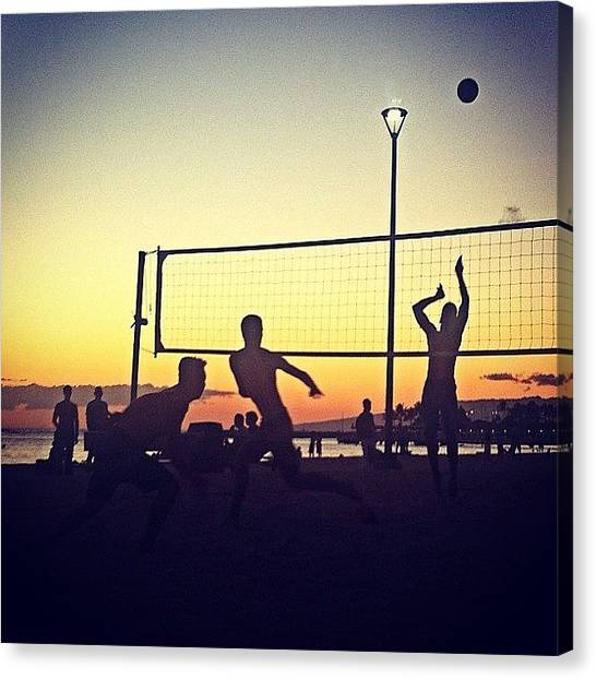 Volleyball Canvas Print - Beach Volley Ball At Sunset by Emily Hames