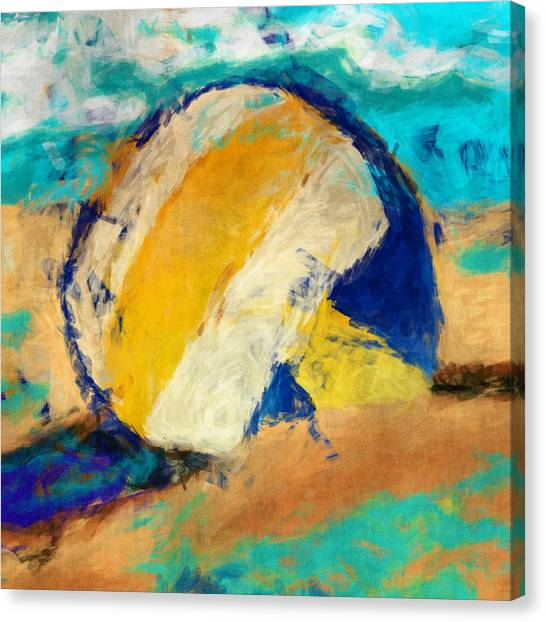 Volleyball Canvas Print - Beach Volleyball by David G Paul