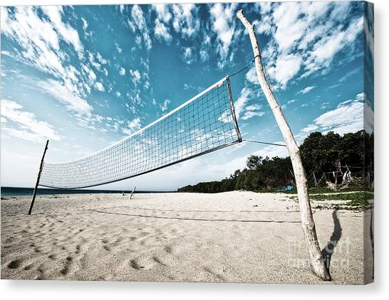 Canvas Print featuring the photograph Beach Volleyball Net by Yew Kwang